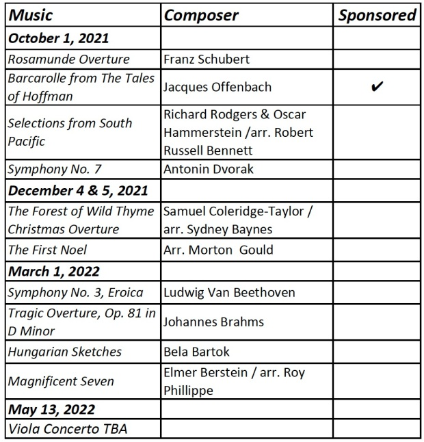 Music Sponsorship List
